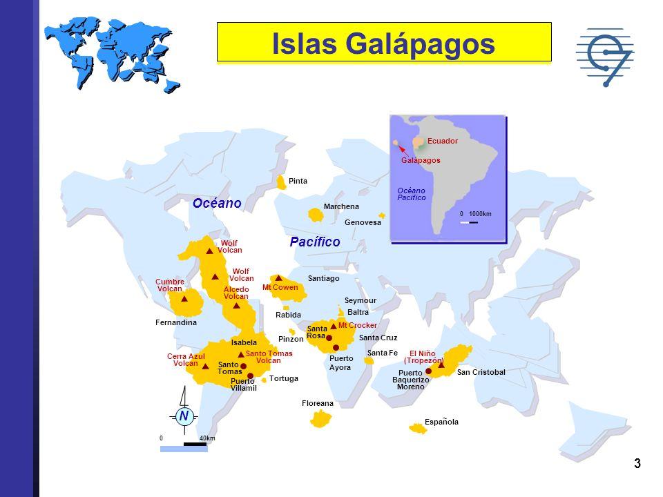 3 Islas Galápagos Océano Pacífico Pinta Marchena Genovesa Santiago Seymour Baltra Santa Cruz Santa Fe Floreana San Cristobal Tortuga Pinzon Santa Rosa