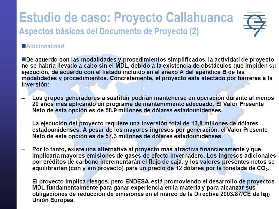 10 Adicionalidad De acuerdo con las modalidades y procedimientos simplificados, la actividad de proyecto no se habría llevado a cabo sin el MDL, debid