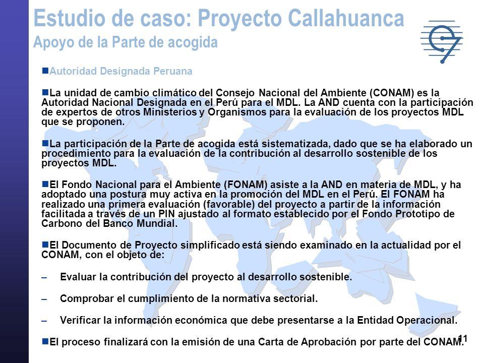 11 Autoridad Designada Peruana La unidad de cambio climático del Consejo Nacional del Ambiente (CONAM) es la Autoridad Nacional Designada en el Perú p