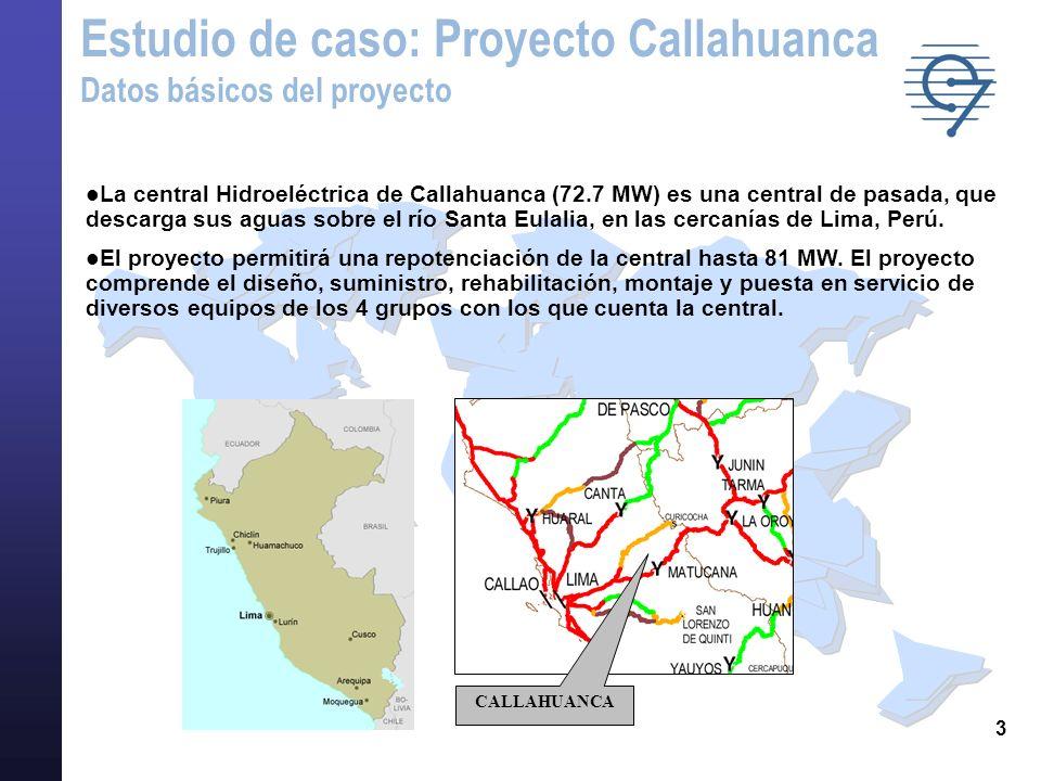 3 Estudio de caso: Proyecto Callahuanca Datos básicos del proyecto CALLAHUANCA l La central Hidroeléctrica de Callahuanca (72.7 MW) es una central de