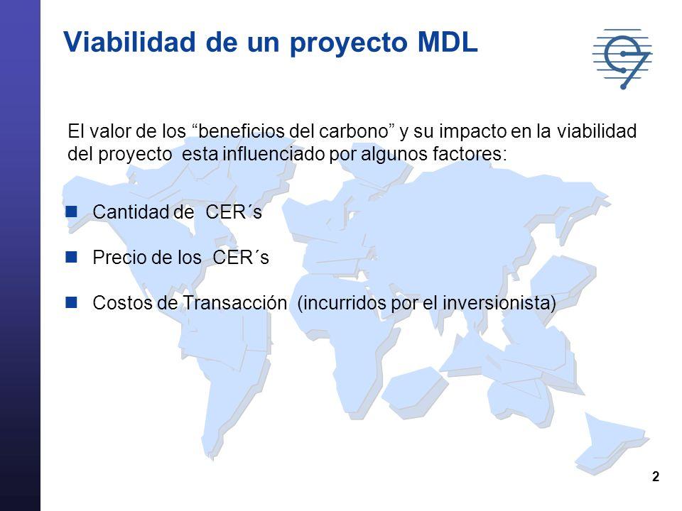 2 Viabilidad de un proyecto MDL Cantidad de CER´s Precio de los CER´s Costos de Transacción (incurridos por el inversionista) El valor de los beneficios del carbono y su impacto en la viabilidad del proyecto esta influenciado por algunos factores: