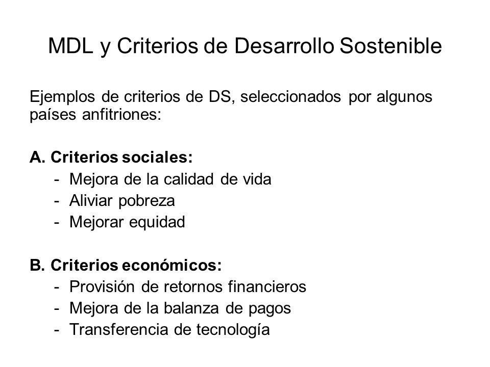 MDL y Criterios de Desarrollo Sostenible Ejemplos de criterios de DS, seleccionados por algunos países anfitriones: A. Criterios sociales: -Mejora de