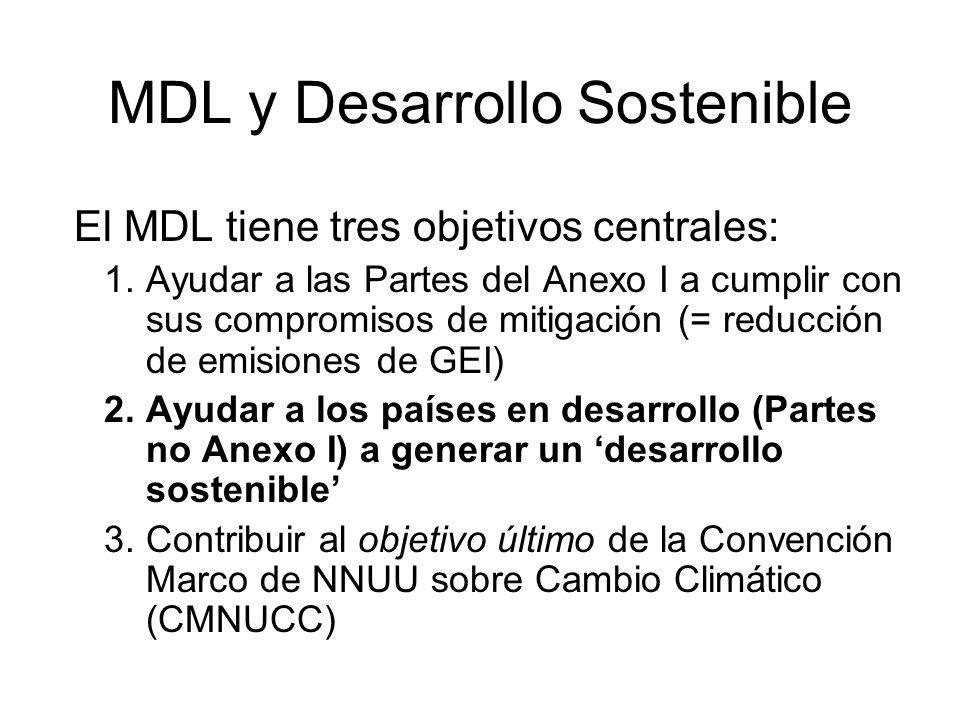 MDL y Desarrollo Sostenible El MDL tiene tres objetivos centrales: 1.Ayudar a las Partes del Anexo I a cumplir con sus compromisos de mitigación (= re