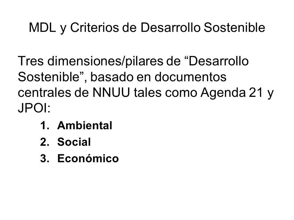 MDL y Criterios de Desarrollo Sostenible Consideraciones importantes sobre criterios de DS: –Criterios de DS deberían ser vistos comoconductores (y no como una condición) para la participación de países en desarrollo en proyectos MDL, pues la selección de criterios de DS es una decisión soberana del país anfitrión.