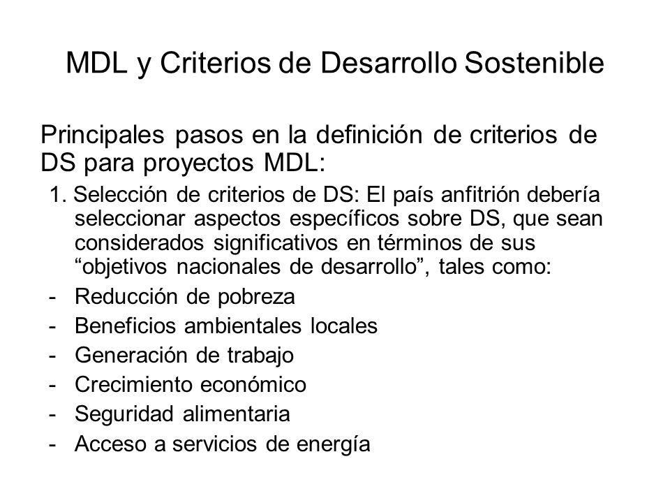MDL y Criterios de Desarrollo Sostenible Principales pasos en la definición de criterios de DS para proyectos MDL: 1. Selección de criterios de DS: El