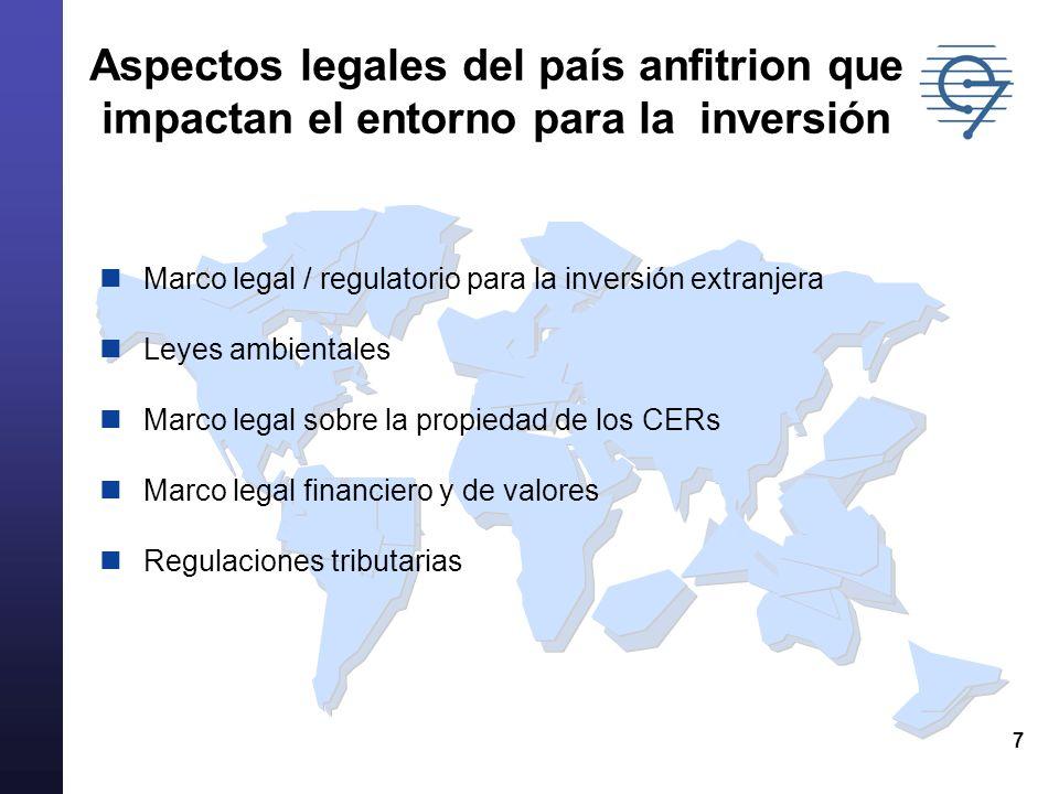 7 Aspectos legales del país anfitrion que impactan el entorno para la inversión Marco legal / regulatorio para la inversión extranjera Leyes ambientales Marco legal sobre la propiedad de los CERs Marco legal financiero y de valores Regulaciones tributarias