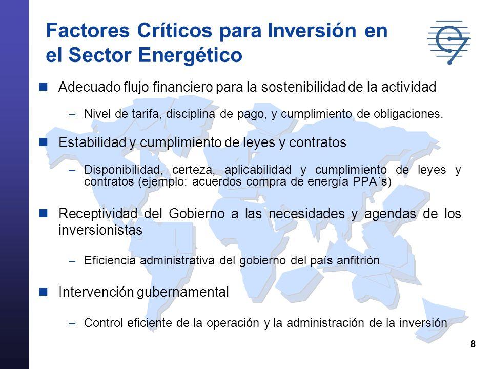 8 Factores Críticos para Inversión en el Sector Energético Adecuado flujo financiero para la sostenibilidad de la actividad –Nivel de tarifa, disciplina de pago, y cumplimiento de obligaciones.