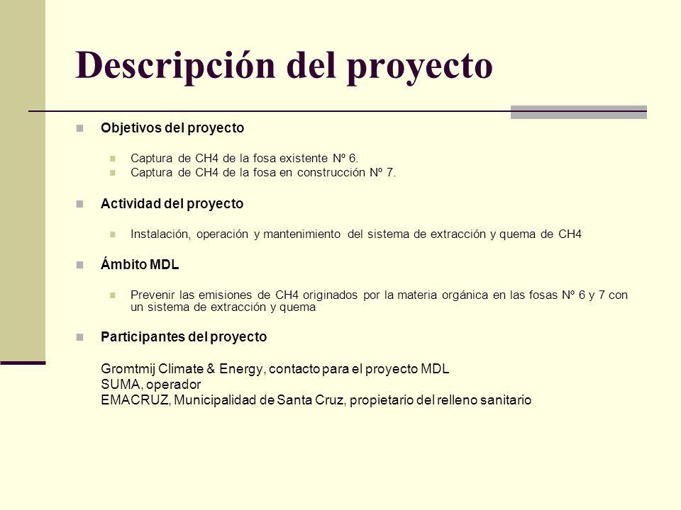 Descripción del proyecto Objetivos del proyecto Captura de CH4 de la fosa existente Nº 6.