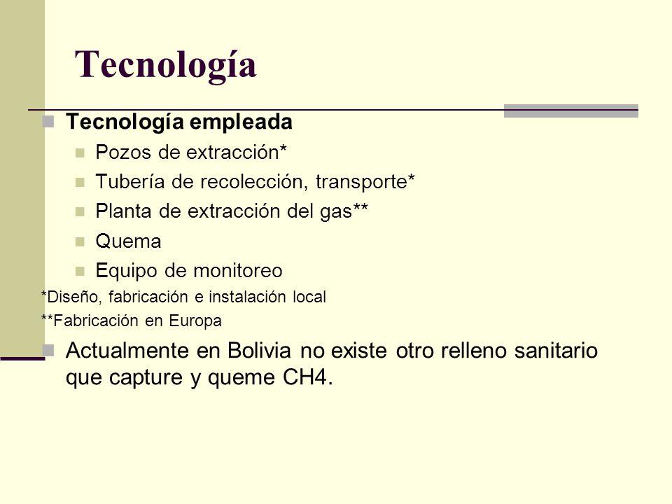 Tecnología Tecnología empleada Pozos de extracción* Tubería de recolección, transporte* Planta de extracción del gas** Quema Equipo de monitoreo *Diseño, fabricación e instalación local **Fabricación en Europa Actualmente en Bolivia no existe otro relleno sanitario que capture y queme CH4.