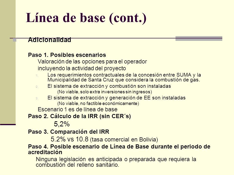 Línea de base (cont.) Adicionalidad Paso 1.