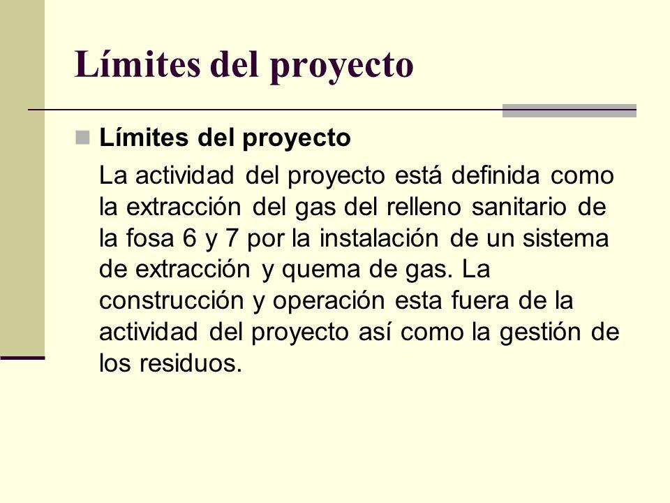 Límites del proyecto La actividad del proyecto está definida como la extracción del gas del relleno sanitario de la fosa 6 y 7 por la instalación de un sistema de extracción y quema de gas.