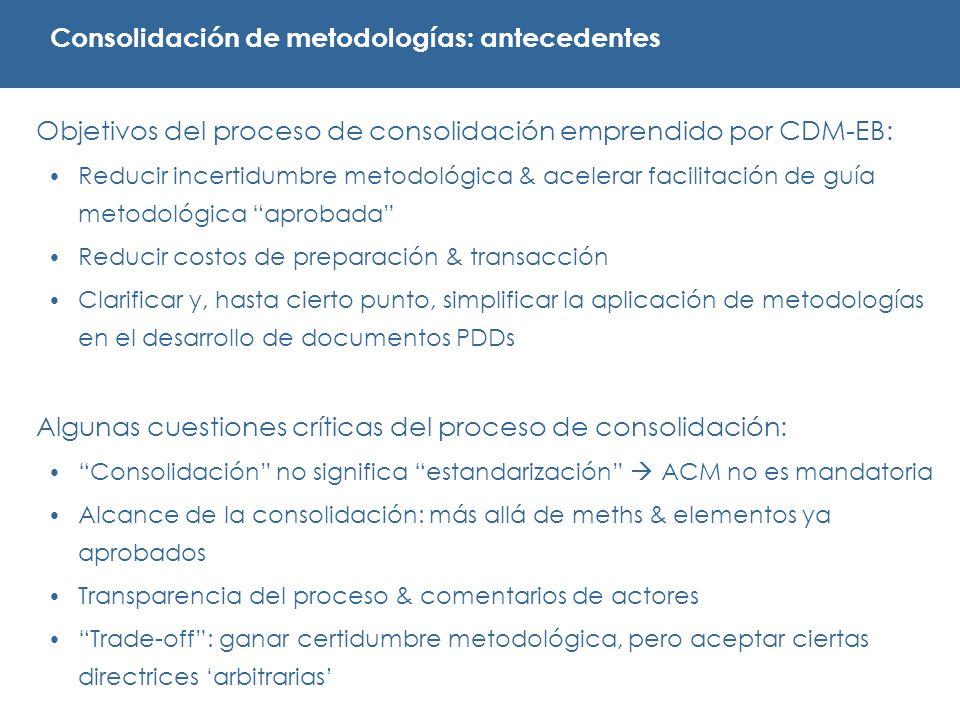 Objetivos del proceso de consolidación emprendido por CDM-EB: Reducir incertidumbre metodológica & acelerar facilitación de guía metodológica aprobada Reducir costos de preparación & transacción Clarificar y, hasta cierto punto, simplificar la aplicación de metodologías en el desarrollo de documentos PDDs Algunas cuestiones críticas del proceso de consolidación: Consolidación no significa estandarización ACM no es mandatoria Alcance de la consolidación: más allá de meths & elementos ya aprobados Transparencia del proceso & comentarios de actores Trade-off: ganar certidumbre metodológica, pero aceptar ciertas directrices arbitrarias Consolidación de metodologías: antecedentes