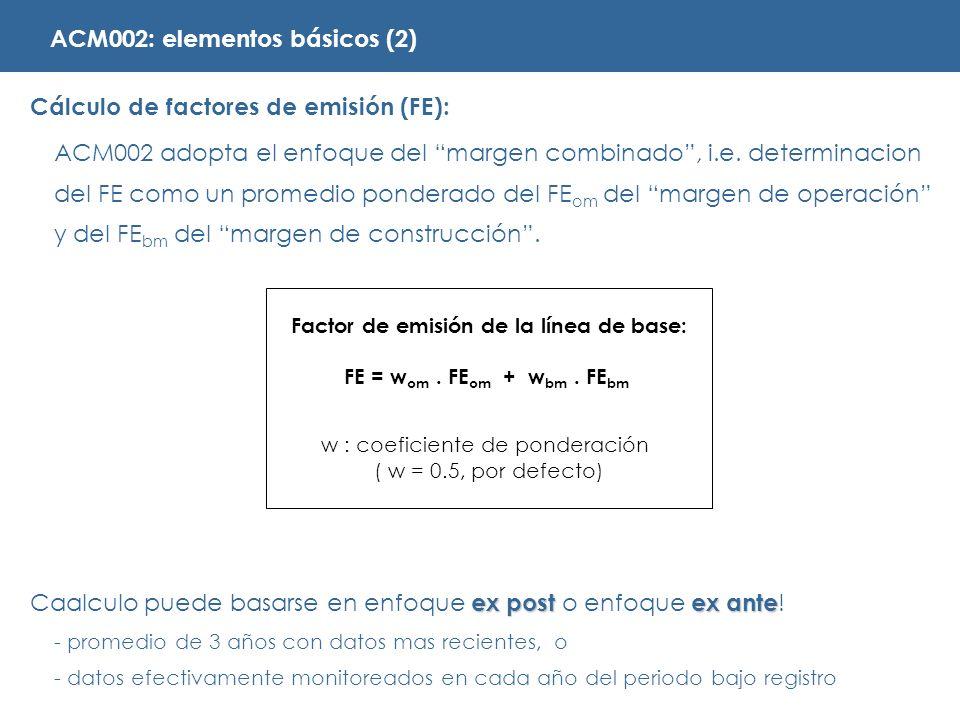 Cálculo de factores de emisión (FE): ACM002 adopta el enfoque del margen combinado, i.e.