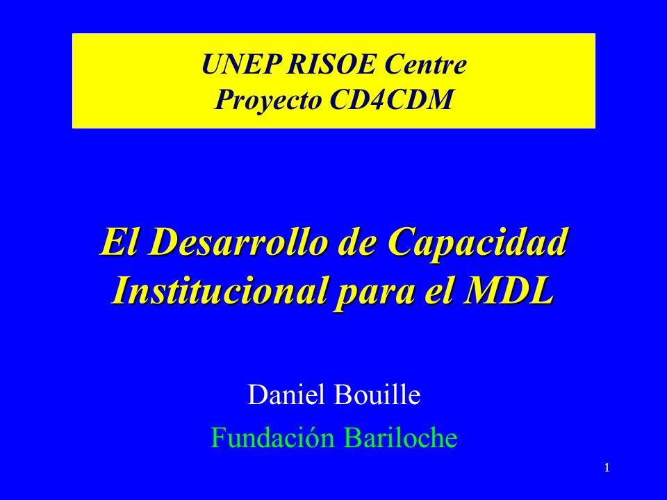 1 El Desarrollo de Capacidad Institucional para el MDL Daniel Bouille Fundación Bariloche UNEP RISOE Centre Proyecto CD4CDM