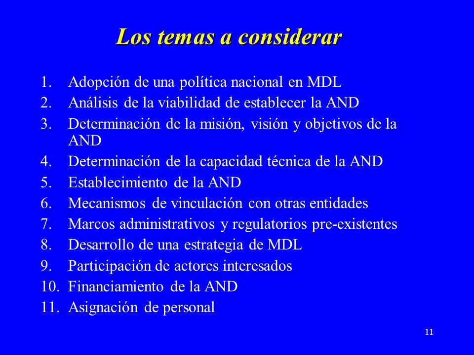 11 Los temas a considerar 1.Adopción de una política nacional en MDL 2.Análisis de la viabilidad de establecer la AND 3.Determinación de la misión, visión y objetivos de la AND 4.Determinación de la capacidad técnica de la AND 5.Establecimiento de la AND 6.Mecanismos de vinculación con otras entidades 7.Marcos administrativos y regulatorios pre-existentes 8.Desarrollo de una estrategia de MDL 9.Participación de actores interesados 10.Financiamiento de la AND 11.Asignación de personal