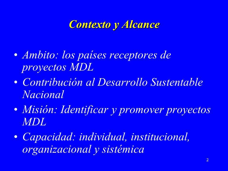2 Contexto y Alcance Ambito: los países receptores de proyectos MDL Contribución al Desarrollo Sustentable Nacional Misión: Identificar y promover proyectos MDL Capacidad: individual, institucional, organizacional y sistémica