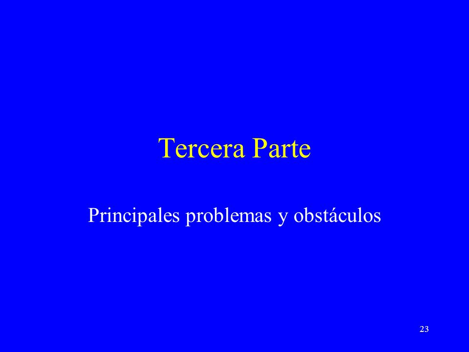 23 Tercera Parte Principales problemas y obstáculos
