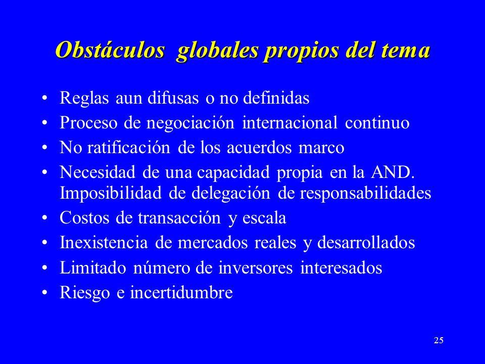 25 Obstáculos globales propios del tema Reglas aun difusas o no definidas Proceso de negociación internacional continuo No ratificación de los acuerdos marco Necesidad de una capacidad propia en la AND.