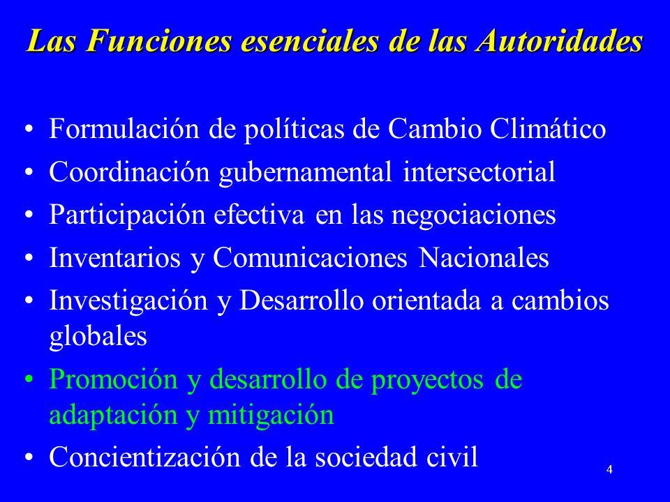 4 Las Funciones esenciales de las Autoridades Formulación de políticas de Cambio Climático Coordinación gubernamental intersectorial Participación efectiva en las negociaciones Inventarios y Comunicaciones Nacionales Investigación y Desarrollo orientada a cambios globales Promoción y desarrollo de proyectos de adaptación y mitigación Concientización de la sociedad civil