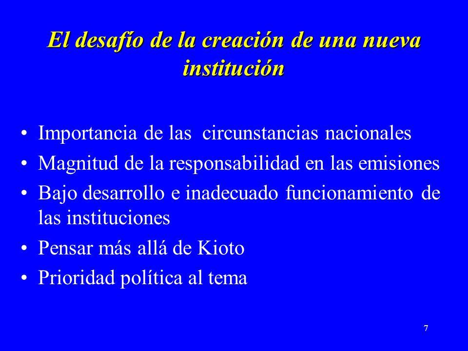 7 El desafío de la creación de una nueva institución Importancia de las circunstancias nacionales Magnitud de la responsabilidad en las emisiones Bajo desarrollo e inadecuado funcionamiento de las instituciones Pensar más allá de Kioto Prioridad política al tema