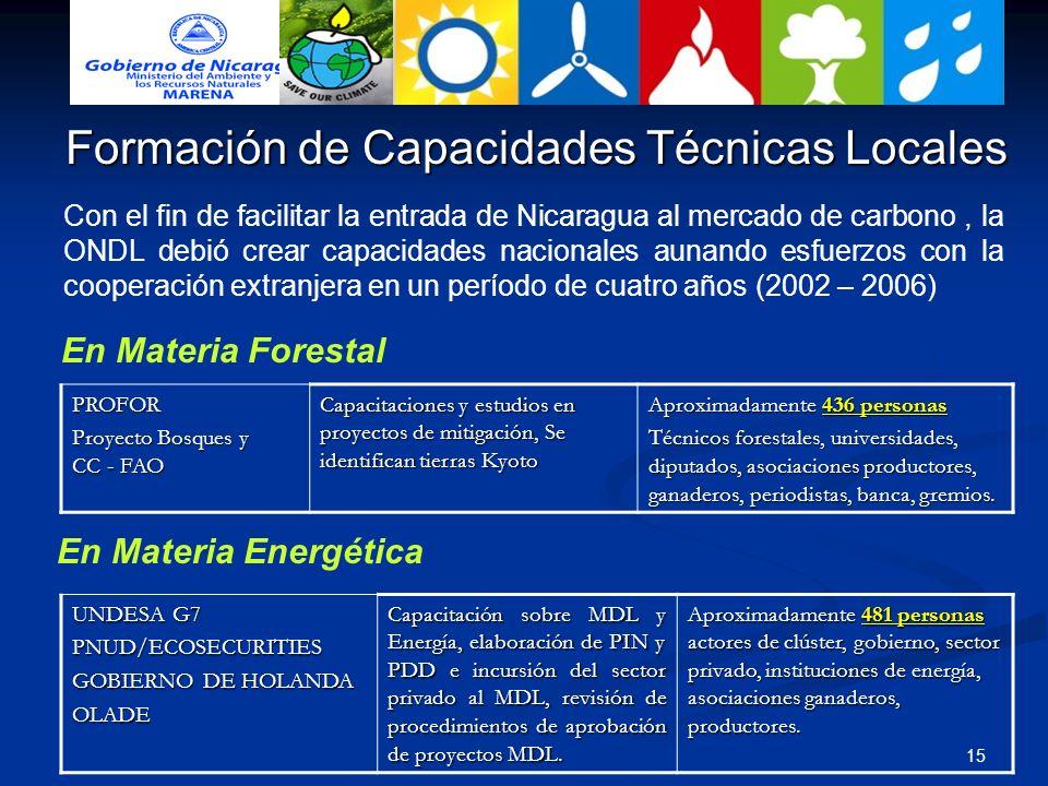 15 Con el fin de facilitar la entrada de Nicaragua al mercado de carbono, la ONDL debió crear capacidades nacionales aunando esfuerzos con la cooperac