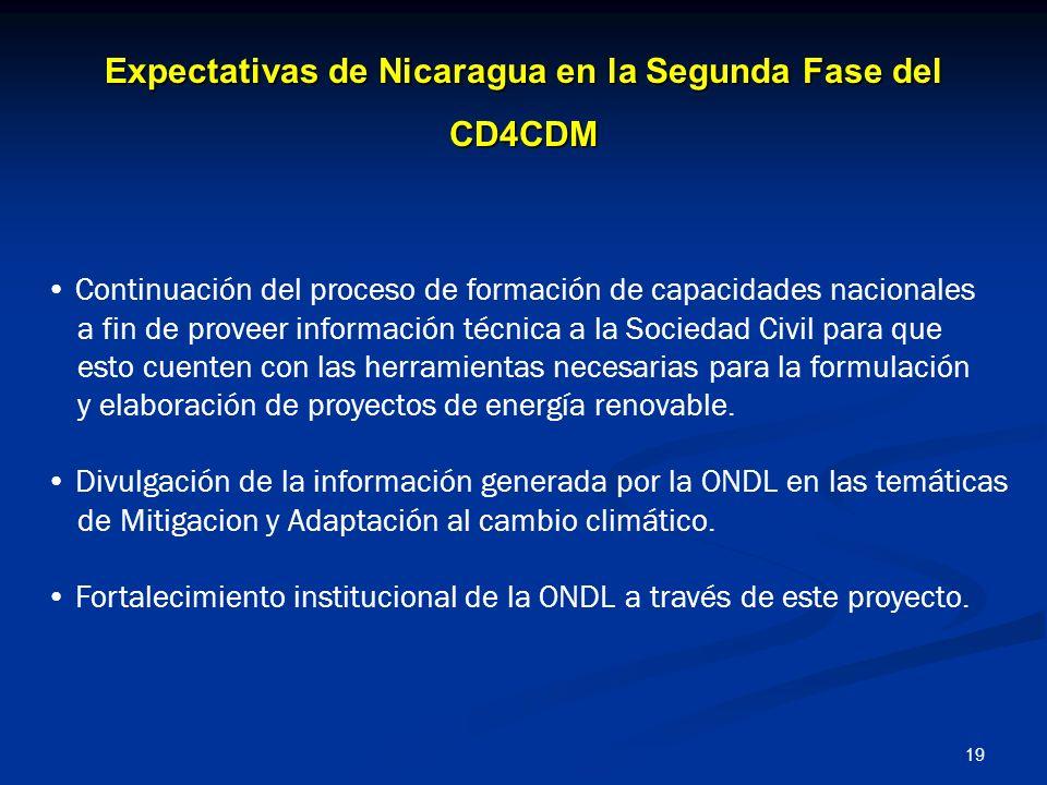 19 Expectativas de Nicaragua en la Segunda Fase del CD4CDM Continuación del proceso de formación de capacidades nacionales a fin de proveer informació