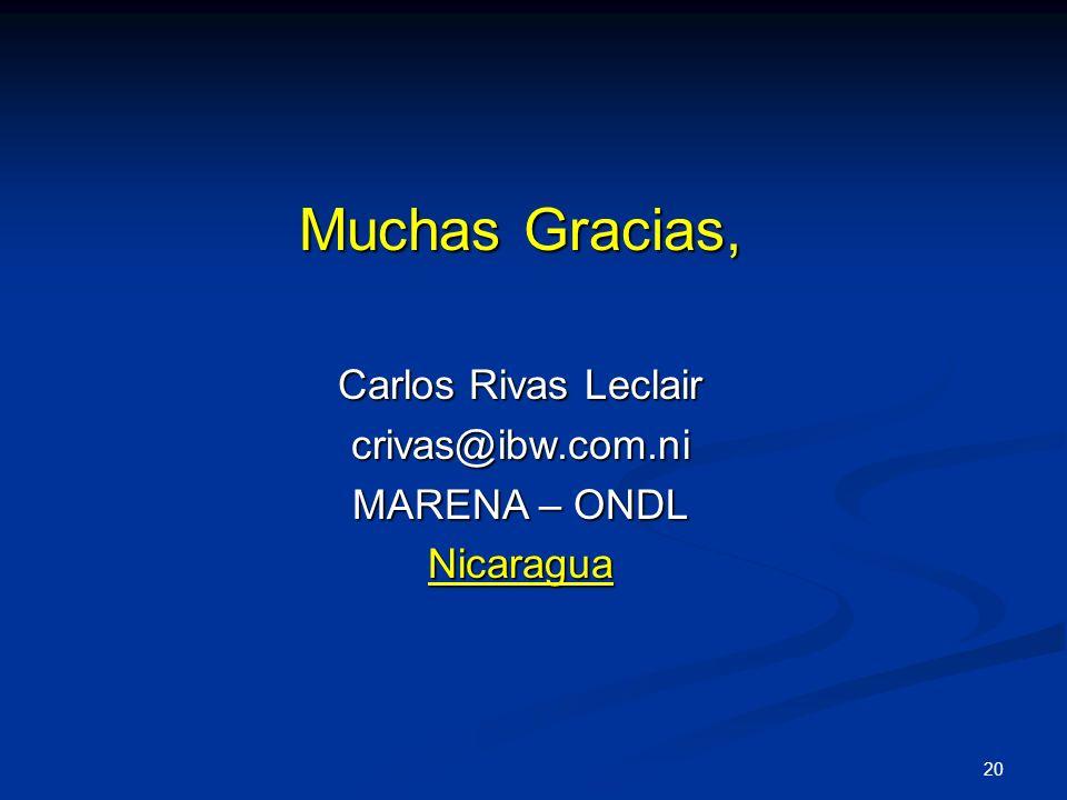 20 Muchas Gracias, Carlos Rivas Leclair crivas@ibw.com.ni MARENA – ONDL Nicaragua