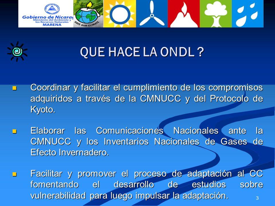 3 QUE HACE LA ONDL ? Coordinar y facilitar el cumplimiento de los compromisos adquiridos a través de la CMNUCC y del Protocolo de Kyoto. Coordinar y f