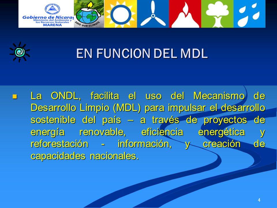 4 La ONDL, facilita el uso del Mecanismo de Desarrollo Limpio (MDL) para impulsar el desarrollo sostenible del país – a través de proyectos de energía