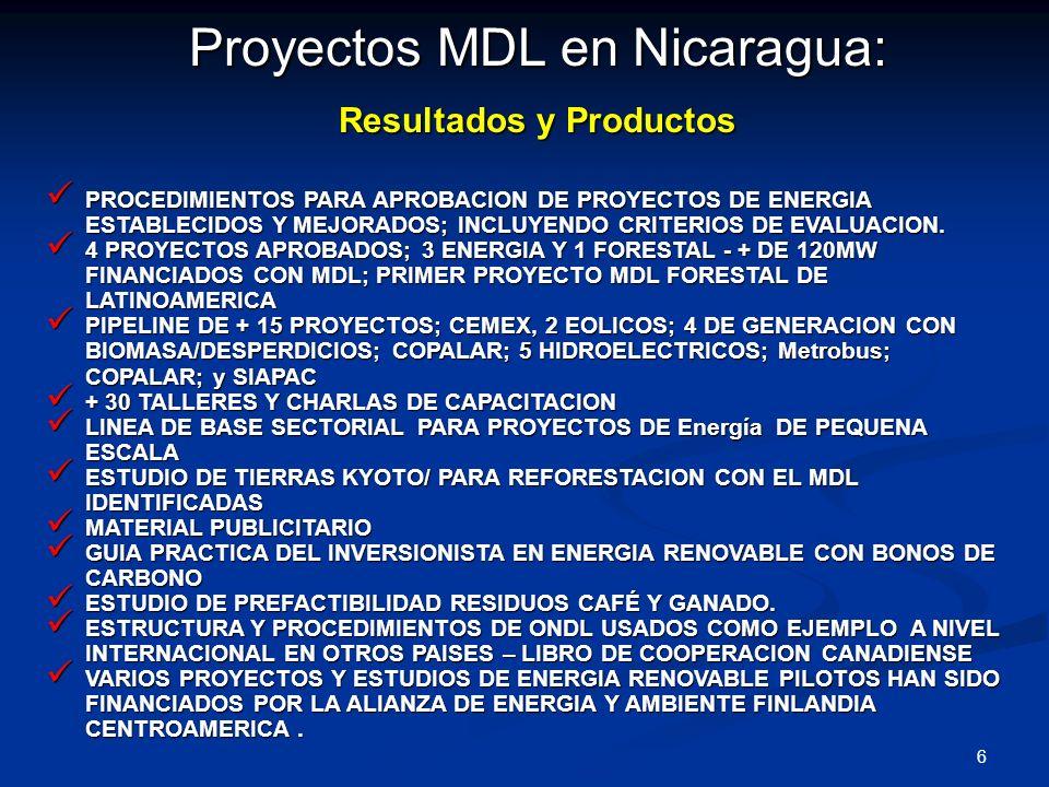 7 Proyectos ya avalados por Nicaragua Compañía Licorera Nacional: Biodigestor - metano Volumen estimado CERs: 1.569.700 ton CO 2.