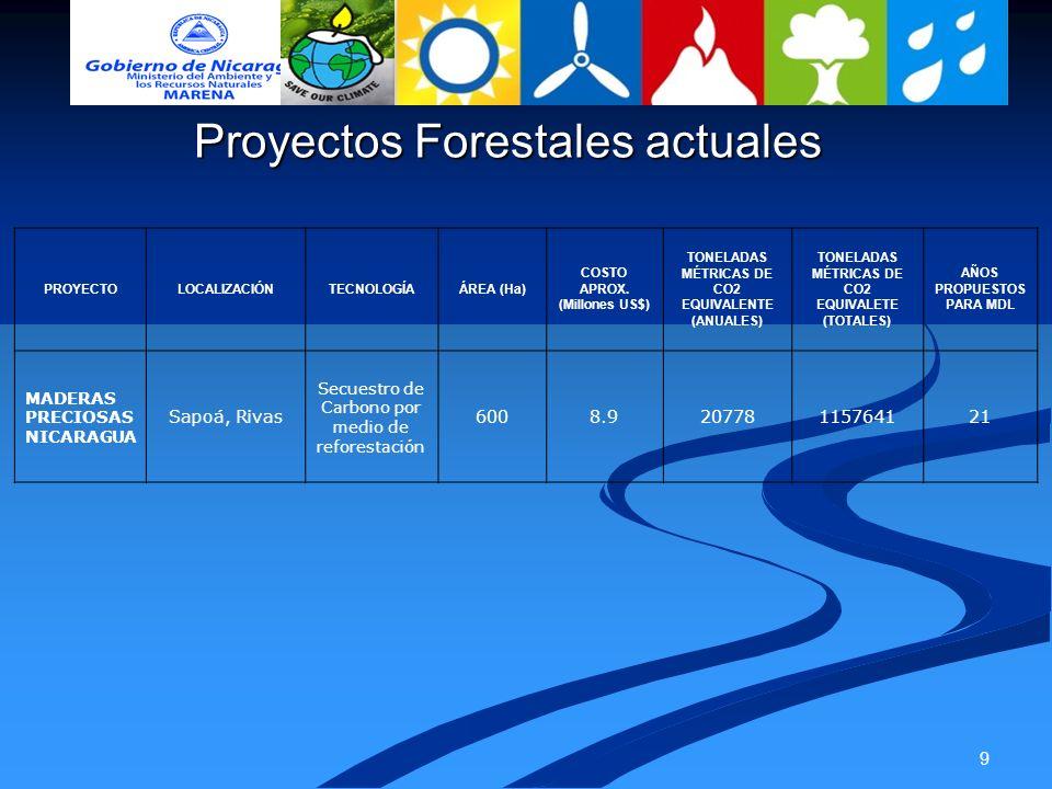 9 Proyectos Forestales actuales PROYECTOLOCALIZACIÓNTECNOLOGÍAÁREA (Ha) COSTO APROX. (Millones US$) TONELADAS MÉTRICAS DE CO2 EQUIVALENTE (ANUALES) TO