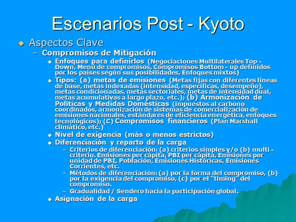 Escenarios Post - Kyoto Aspectos Clave Aspectos Clave –Compromisos de Mitigación Enfoques para definirlos (Negociaciones Multilaterales Top - Down, Me