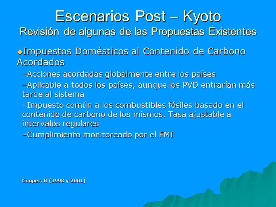 Escenarios Post – Kyoto Revisión de algunas de las Propuestas Existentes Impuestos Domésticos al Contenido de Carbono Acordados Impuestos Domésticos a