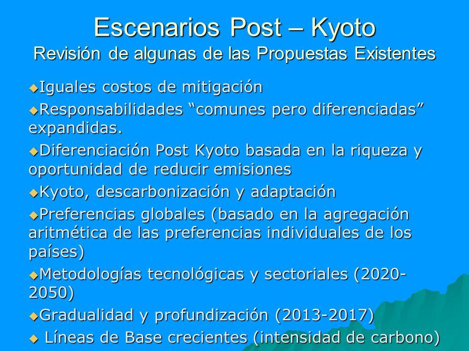 Escenarios Post – Kyoto Revisión de algunas de las Propuestas Existentes Iguales costos de mitigación Iguales costos de mitigación Responsabilidades c