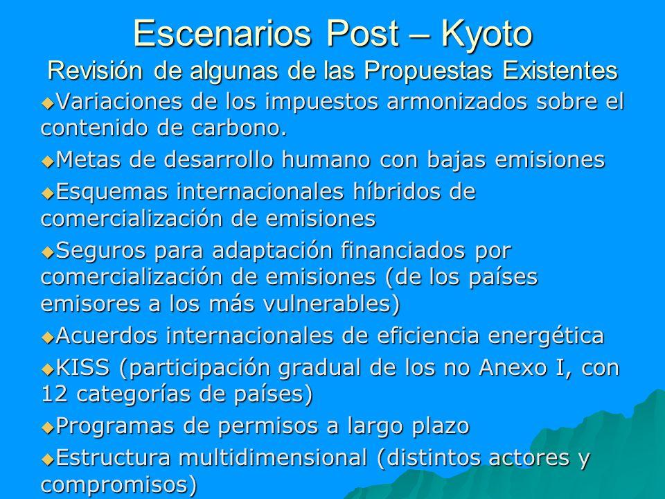 Escenarios Post – Kyoto Revisión de algunas de las Propuestas Existentes Variaciones de los impuestos armonizados sobre el contenido de carbono. Varia