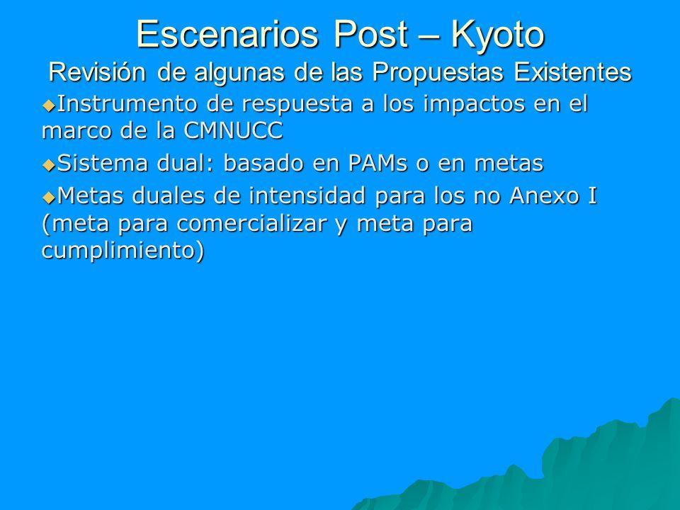 Escenarios Post – Kyoto Revisión de algunas de las Propuestas Existentes Instrumento de respuesta a los impactos en el marco de la CMNUCC Instrumento