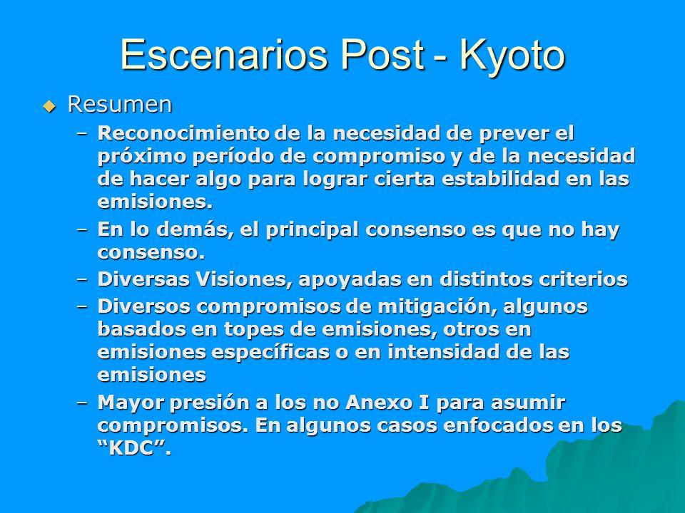 Escenarios Post - Kyoto Resumen Resumen –Reconocimiento de la necesidad de prever el próximo período de compromiso y de la necesidad de hacer algo par