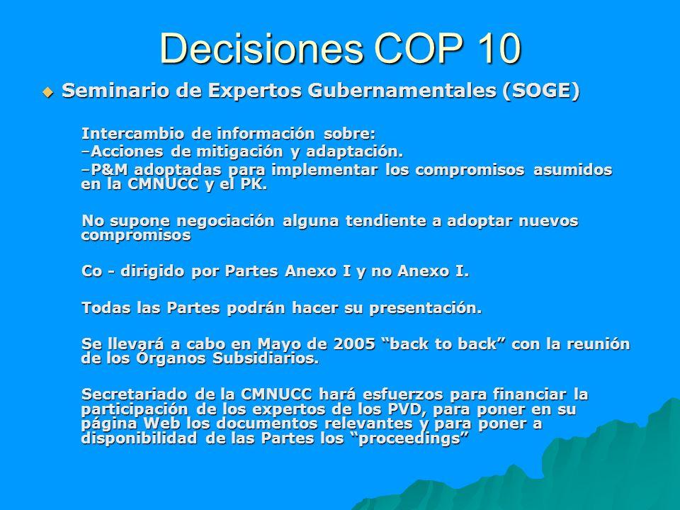 Decisiones COP 10 Seminario de Expertos Gubernamentales (SOGE) Seminario de Expertos Gubernamentales (SOGE) Intercambio de información sobre: –Accione