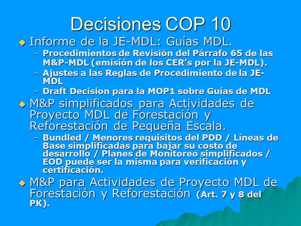 Decisiones COP 10 Informe de la JE-MDL: Guías MDL. Informe de la JE-MDL: Guías MDL. –Procedimientos de Revisión del Párrafo 65 de las M&P-MDL (emisión