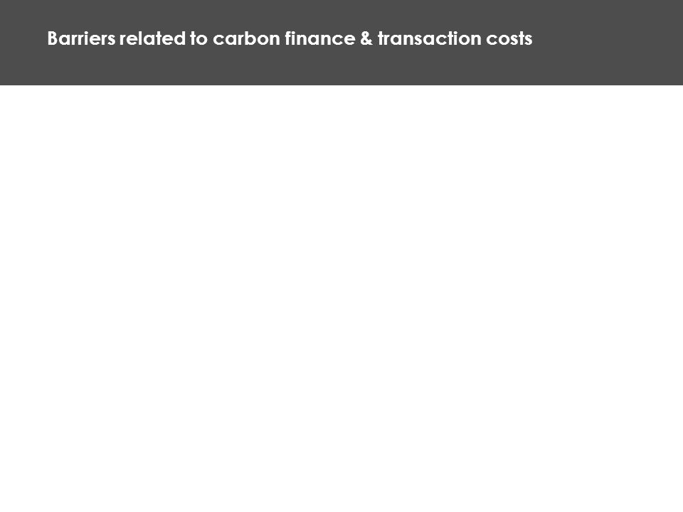 Barriers related to carbon finance & transaction costs