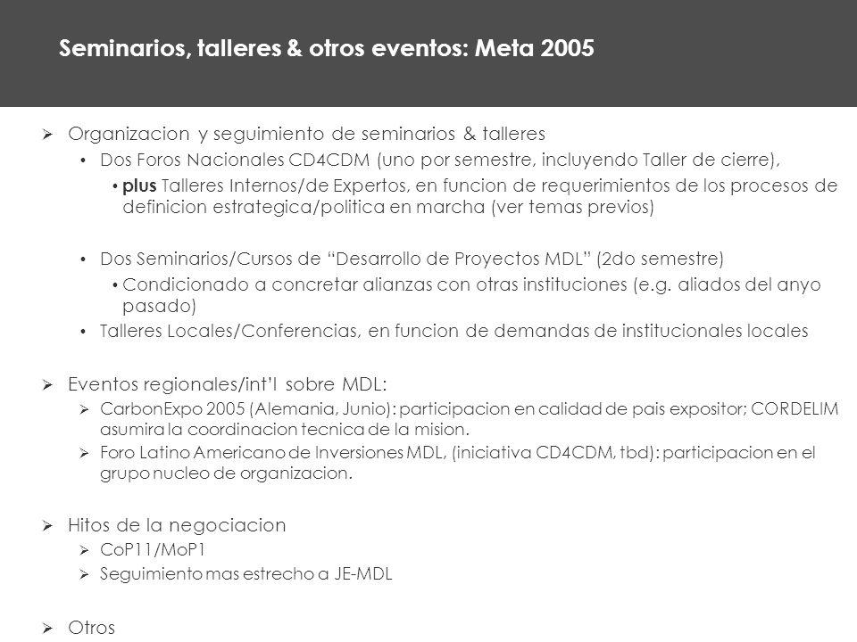 Seminarios, talleres & otros eventos: Meta 2005 Organizacion y seguimiento de seminarios & talleres Dos Foros Nacionales CD4CDM (uno por semestre, incluyendo Taller de cierre), plus Talleres Internos/de Expertos, en funcion de requerimientos de los procesos de definicion estrategica/politica en marcha (ver temas previos) Dos Seminarios/Cursos de Desarrollo de Proyectos MDL (2do semestre) Condicionado a concretar alianzas con otras instituciones (e.g.