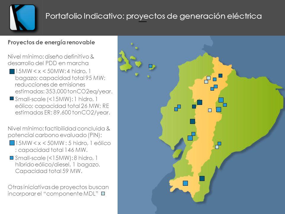 Proyectos de energía renovable Nivel mínimo: diseño definitivo & desarrollo del PDD en marcha 15MW < x < 50MW: 4 hidro, 1 bagazo; capacidad total 95 MW; reducciones de emisiones estimadas: 353.000 tonCO2eq/year.