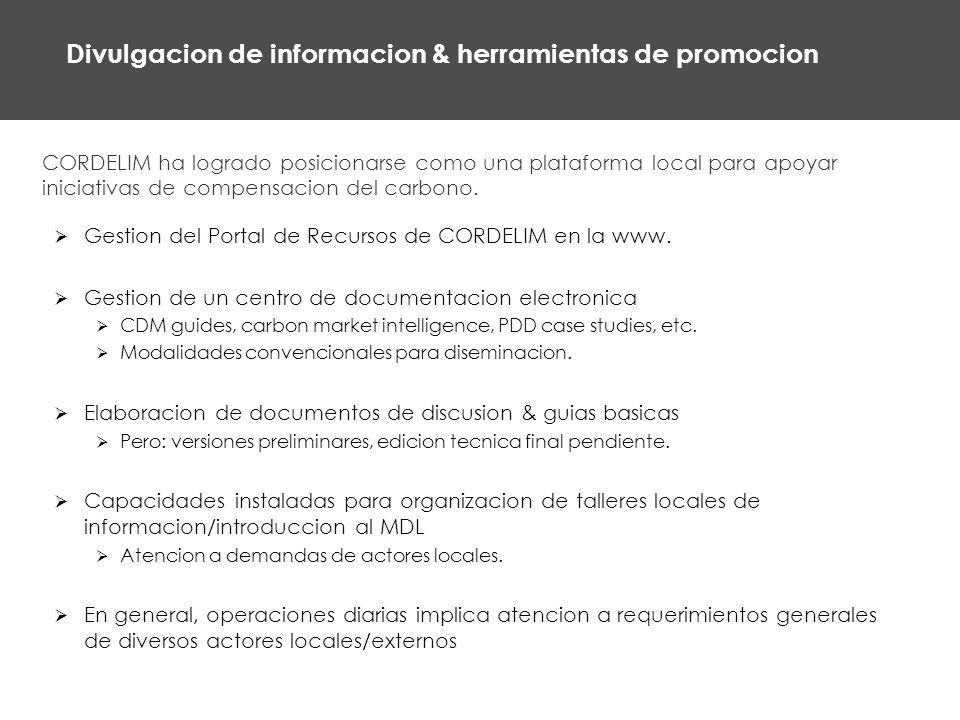 Divulgacion de informacion & herramientas de promocion CORDELIM ha logrado posicionarse como una plataforma local para apoyar iniciativas de compensacion del carbono.