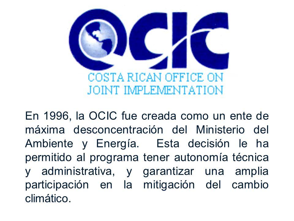 En 1996, la OCIC fue creada como un ente de máxima desconcentración del Ministerio del Ambiente y Energía. Esta decisión le ha permitido al programa t
