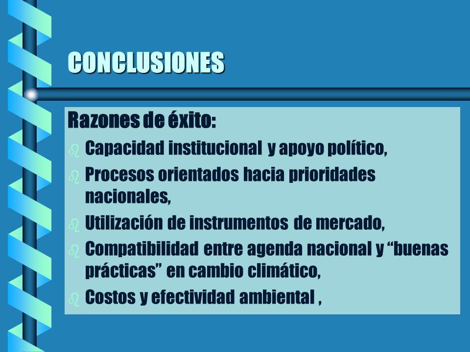 CONCLUSIONES Razones de éxito: b b Capacidad institucional y apoyo político, b b Procesos orientados hacia prioridades nacionales, b b Utilización de