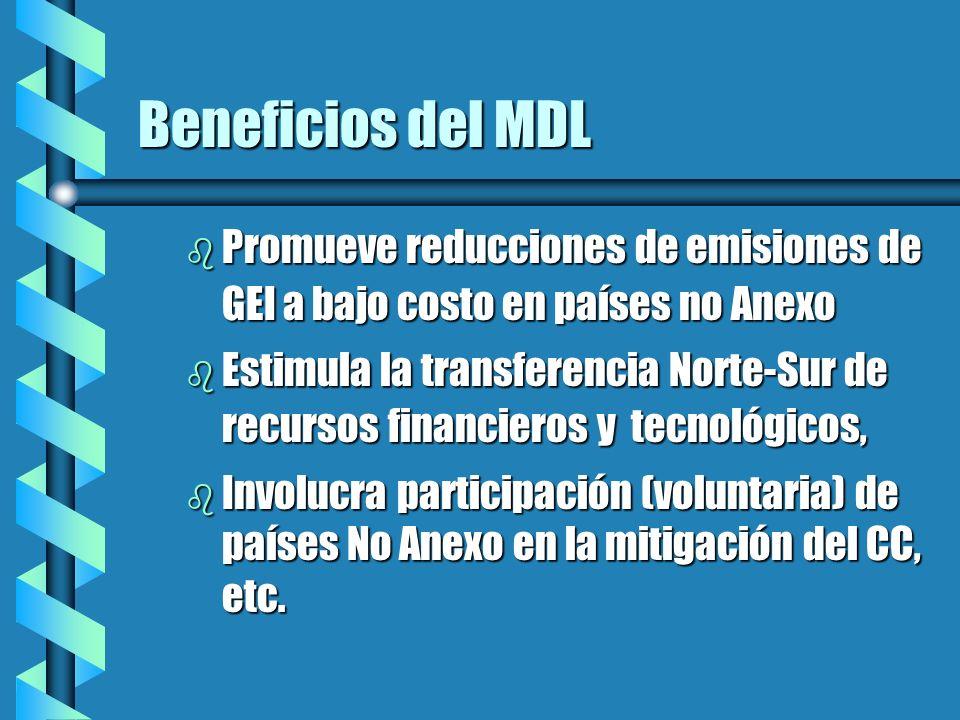 Beneficios del MDL b Promueve reducciones de emisiones de GEI a bajo costo en países no Anexo b Estimula la transferencia Norte-Sur de recursos financieros y tecnológicos, b Involucra participación (voluntaria) de países No Anexo en la mitigación del CC, etc.