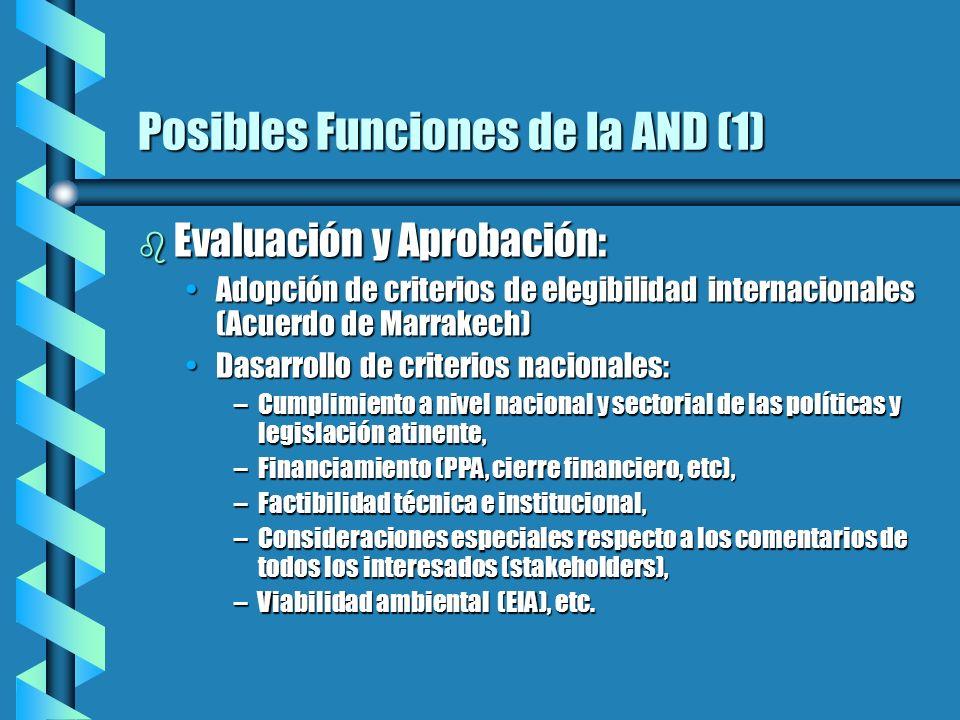 Posibles Funciones de la AND (1) b Evaluación y Aprobación: Adopción de criterios de elegibilidad internacionales (Acuerdo de Marrakech)Adopción de cr