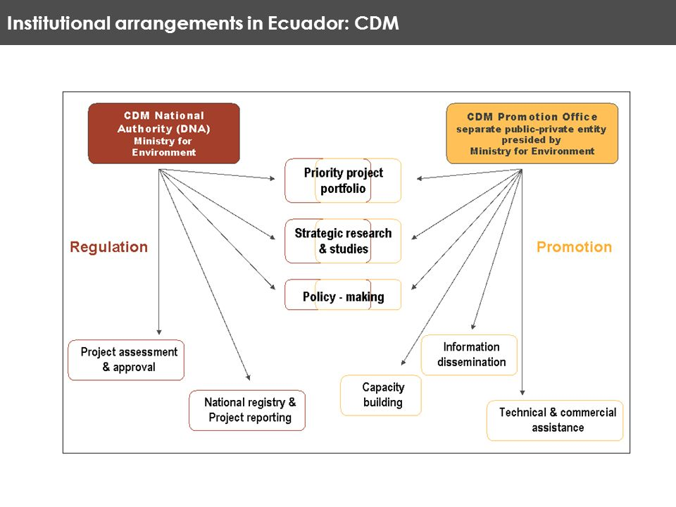 Institutional arrangements in Ecuador: CDM