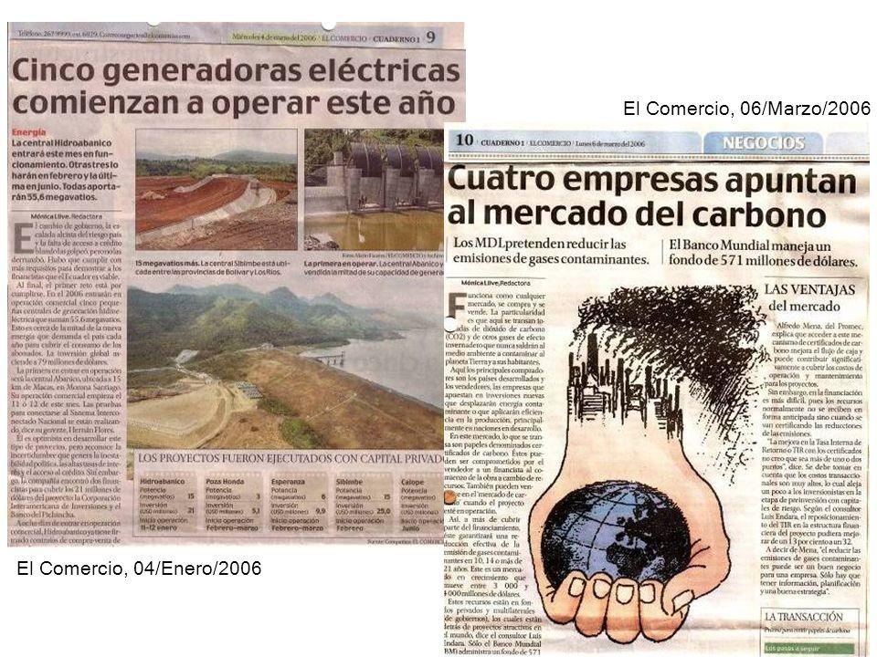 El Comercio, 04/Enero/2006 El Comercio, 06/Marzo/2006
