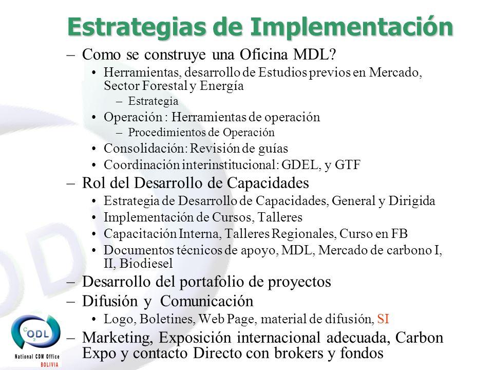 Estrategias de Implementación –Como se construye una Oficina MDL.